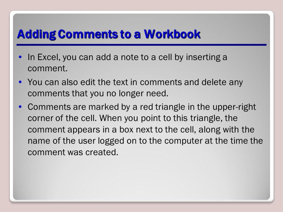 Adding Comments to a Workbook
