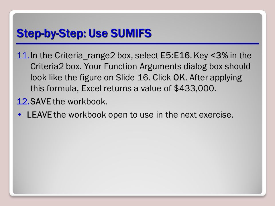 Step-by-Step: Use SUMIFS