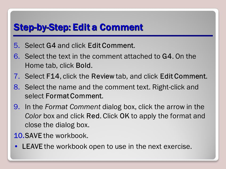 Step-by-Step: Edit a Comment