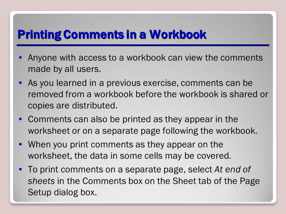 Printing Comments in a Workbook