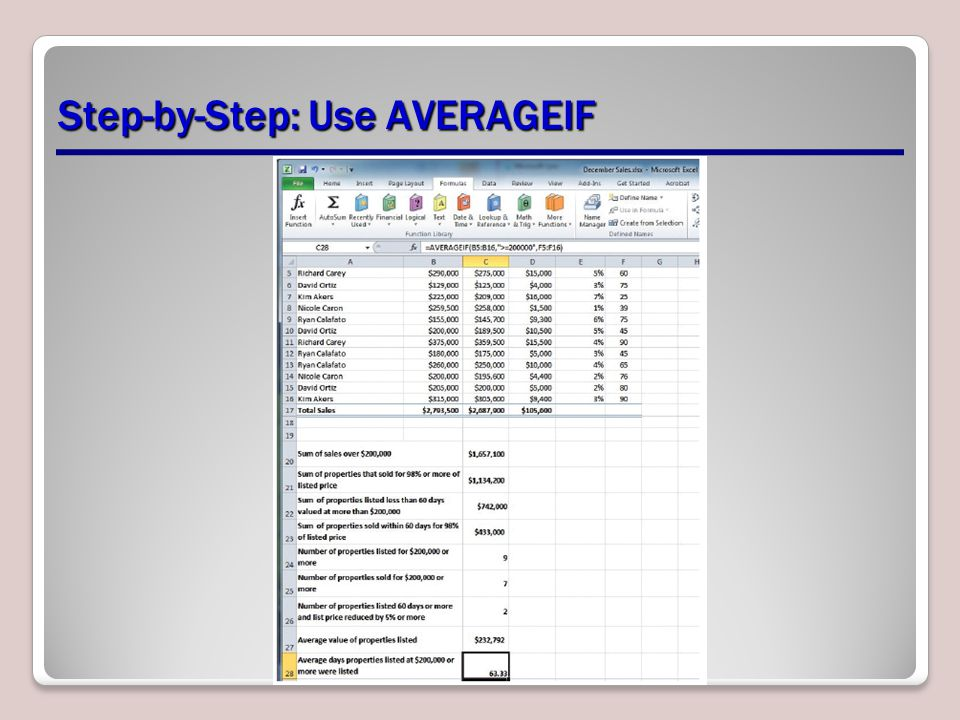 Step-by-Step: Use AVERAGEIF