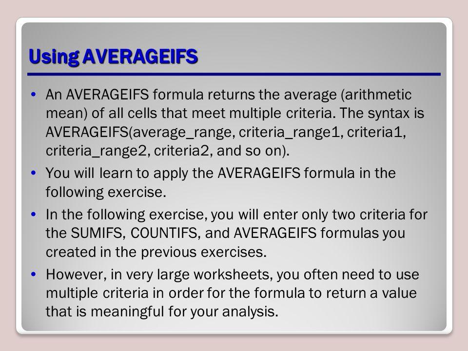 Using AVERAGEIFS