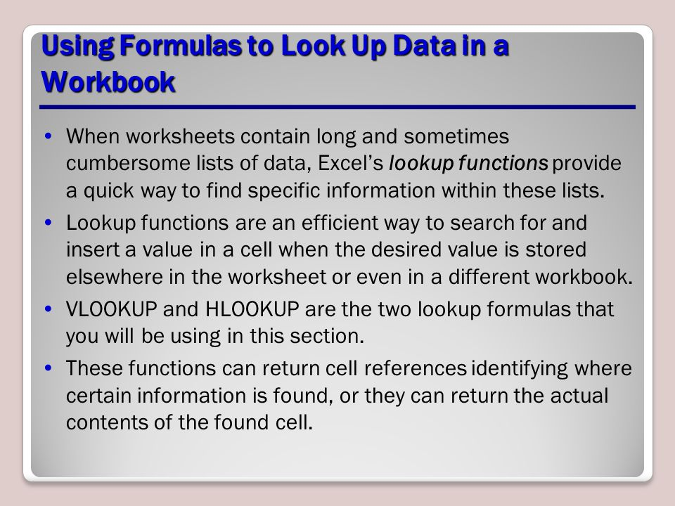 Using Formulas to Look Up Data in a Workbook