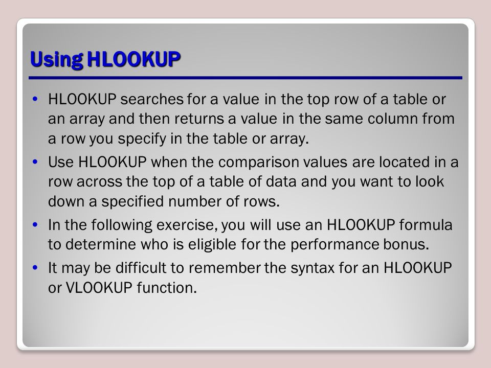 Using HLOOKUP