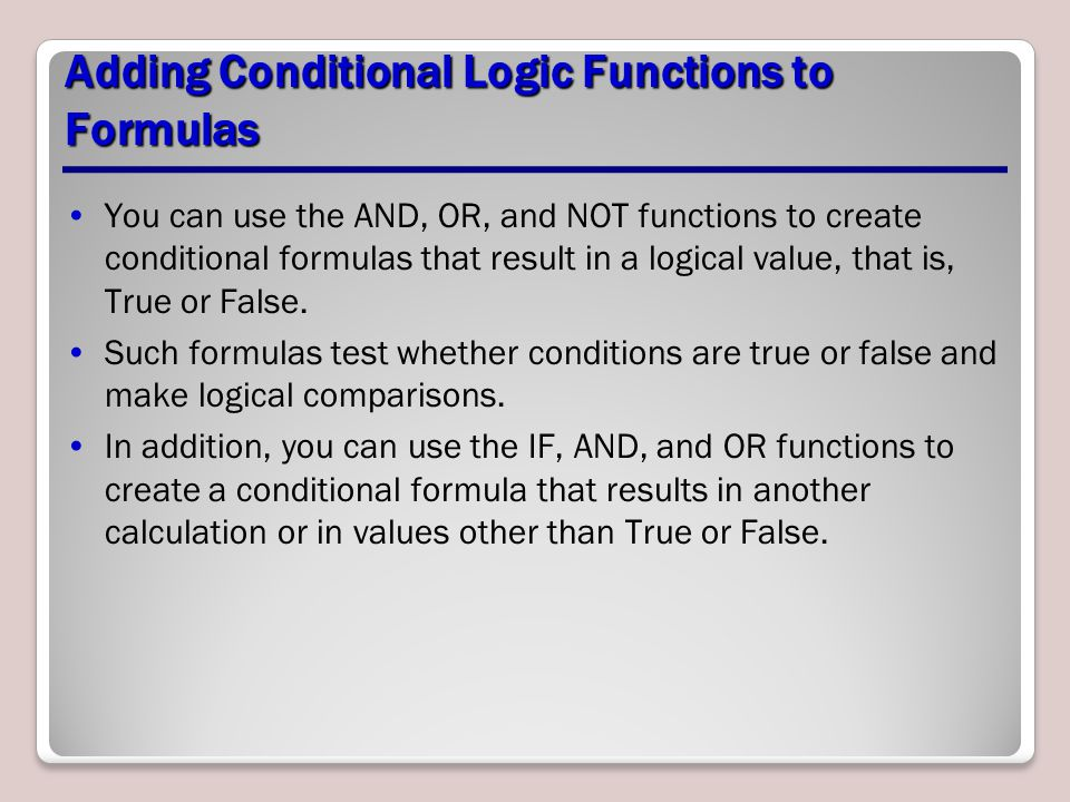 Adding Conditional Logic Functions to Formulas