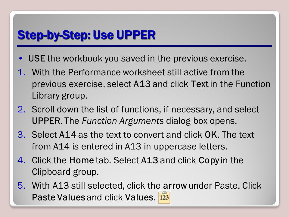 Step-by-Step: Use UPPER