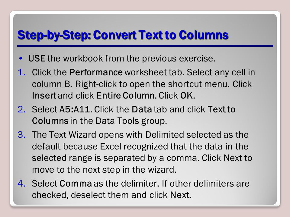 Step-by-Step: Convert Text to Columns