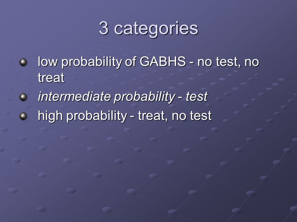 3 categories low probability of GABHS - no test, no treat