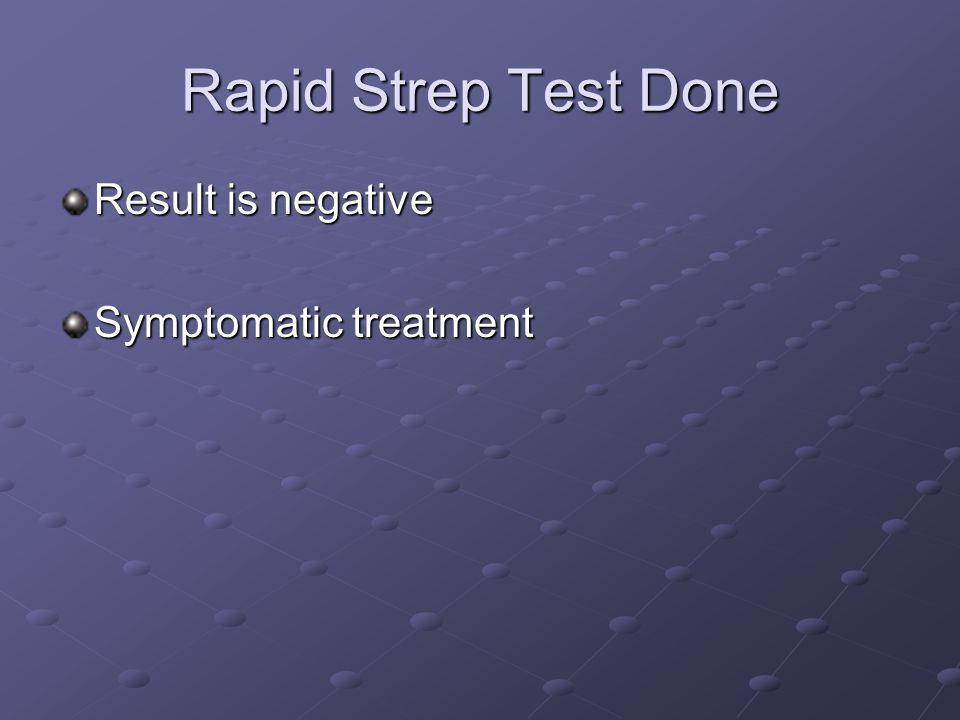 Rapid Strep Test Done Result is negative Symptomatic treatment