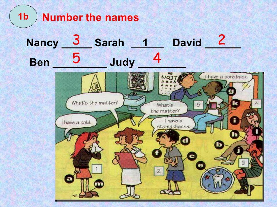 3 2 5 4 Number the names Nancy _____ Sarah 1 David ______