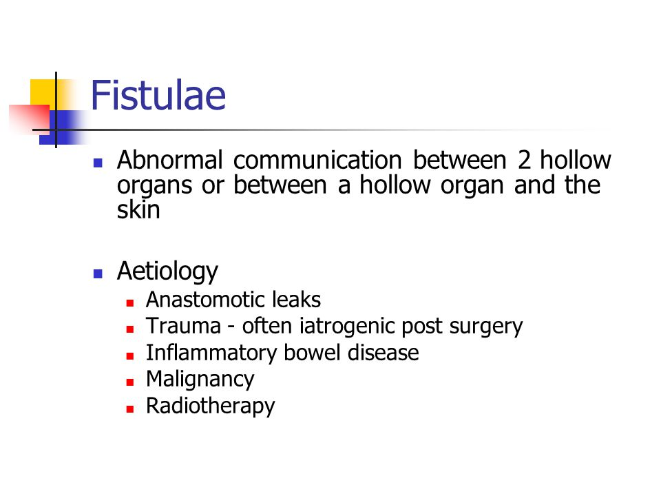 Fistulae Abnormal communication between 2 hollow organs or between a hollow organ and the skin. Aetiology.