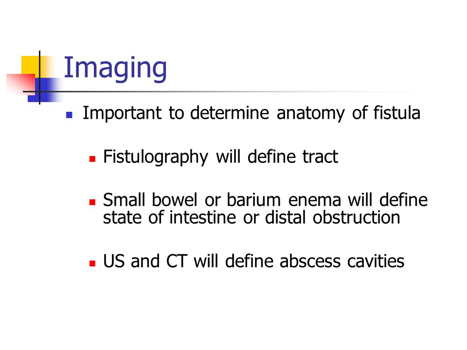 Imaging Important to determine anatomy of fistula