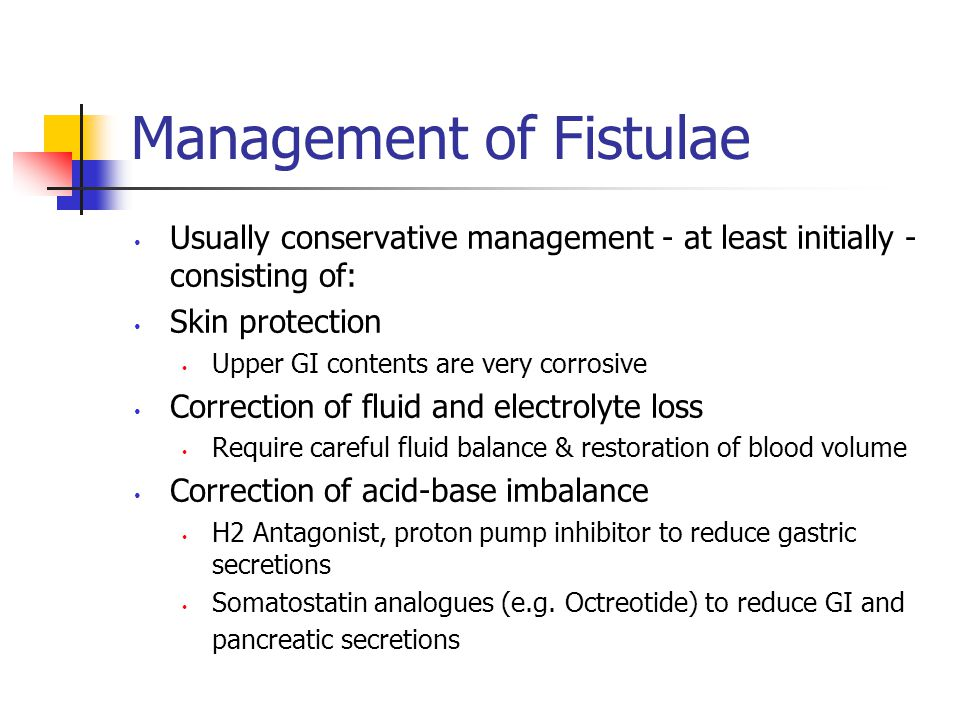 Management of Fistulae