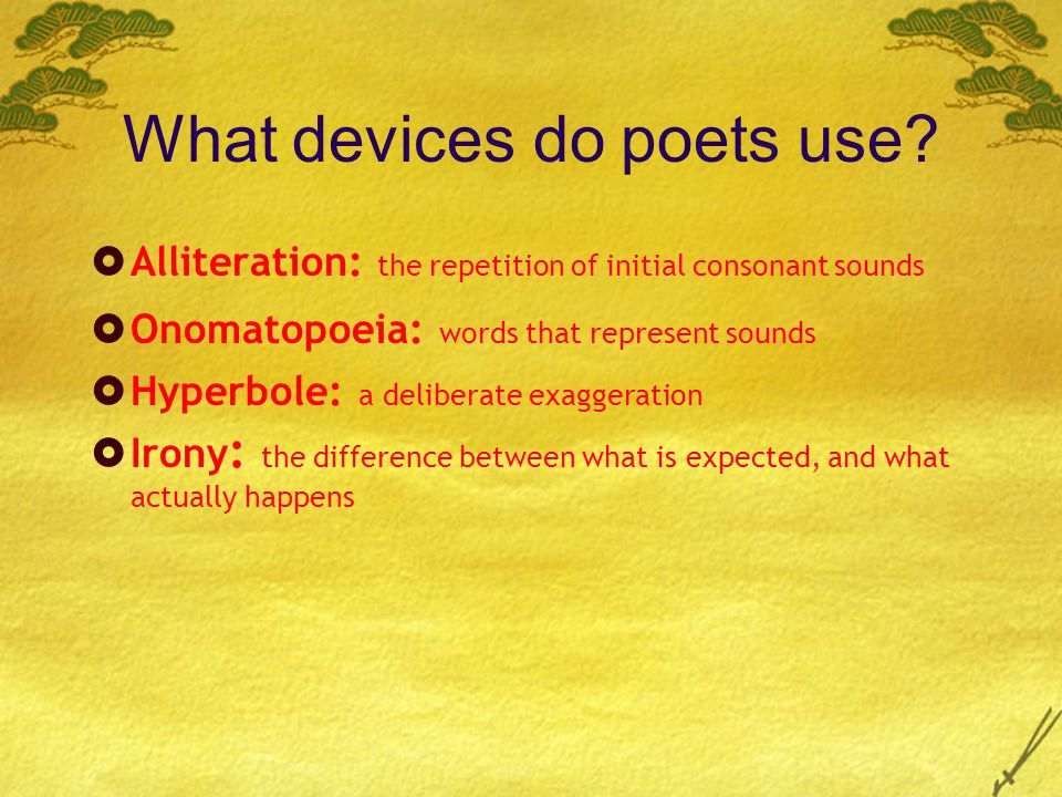 What devices do poets use