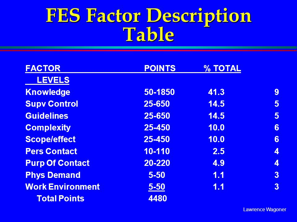 FES Factor Description Table