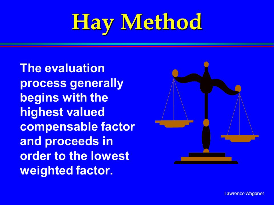 Hay Method The evaluation process generally begins with the highest valued compensable factor and proceeds in order to the lowest weighted factor.
