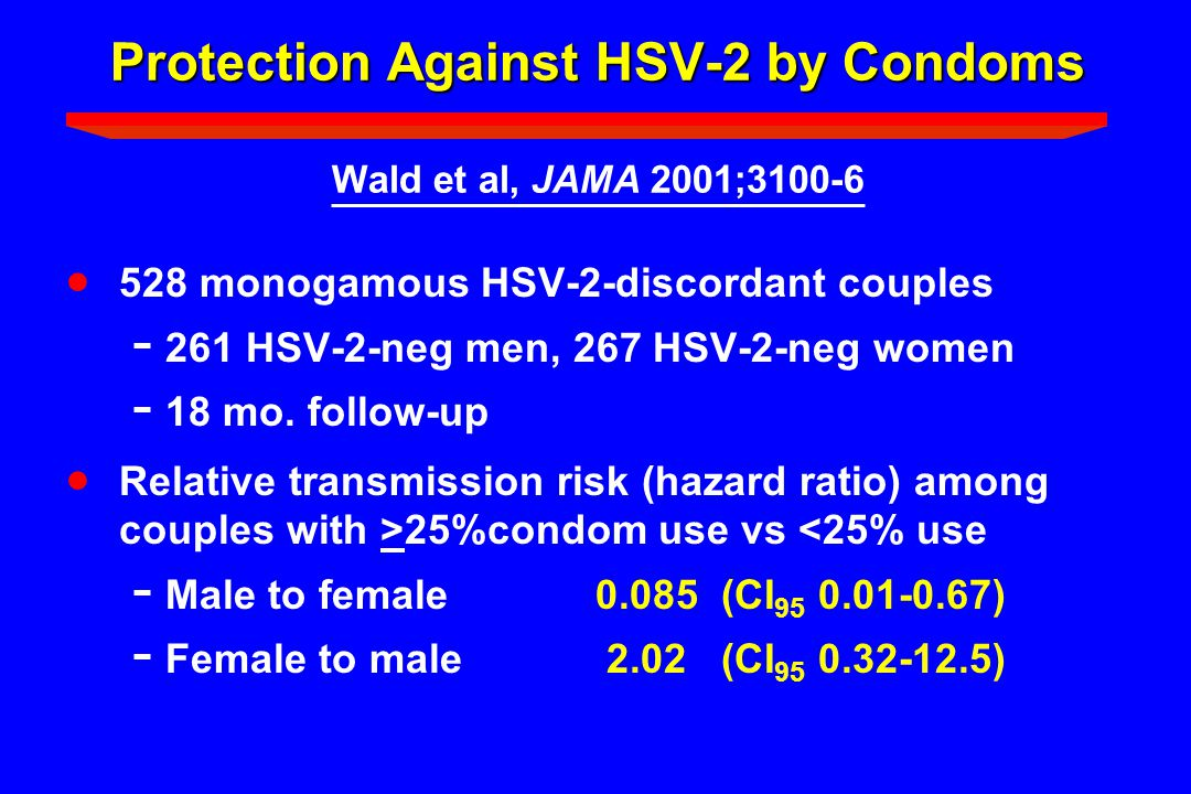 Protection Against HSV-2 by Condoms Wald et al, JAMA 2001;3100-6