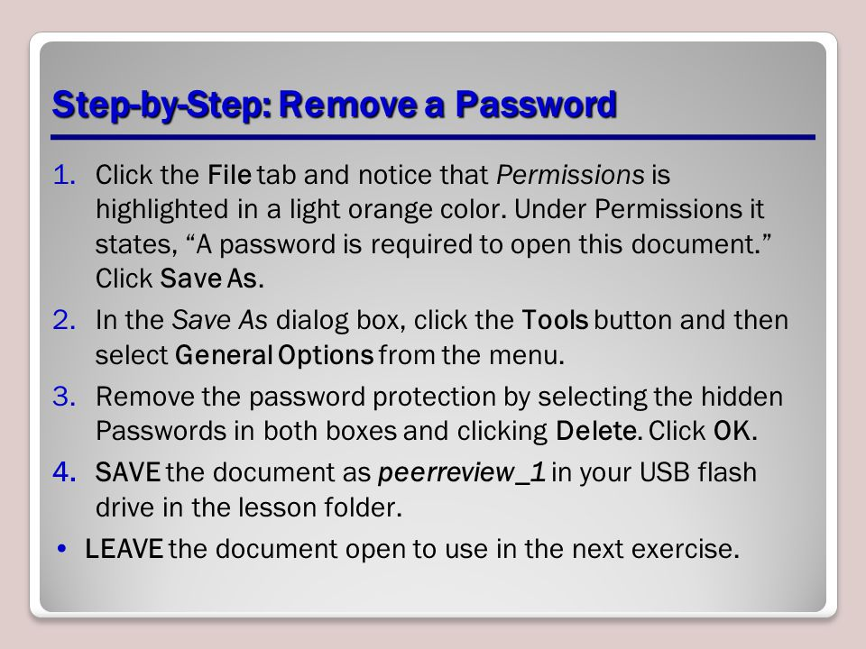 Step-by-Step: Remove a Password