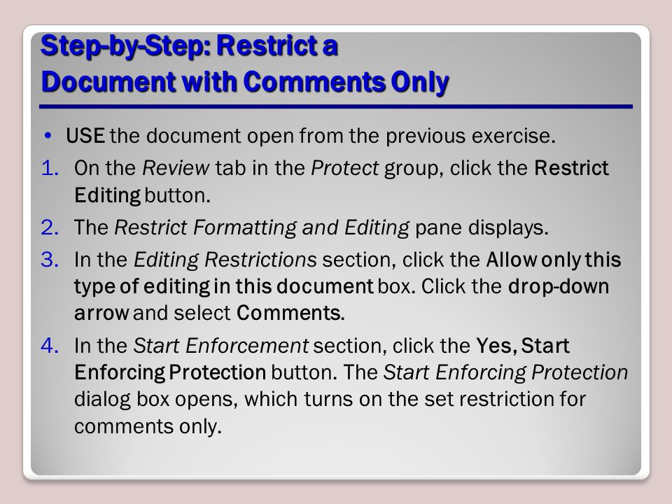 Step-by-Step: Restrict a Document with Comments Only