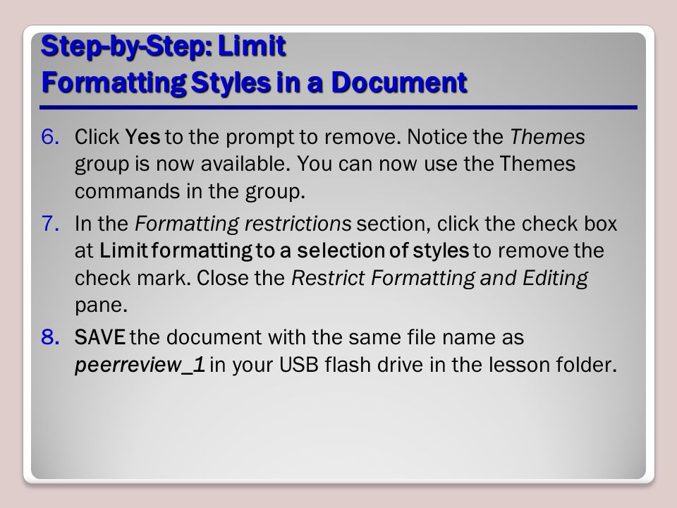 Step-by-Step: Limit Formatting Styles in a Document