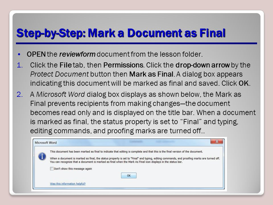 Step-by-Step: Mark a Document as Final