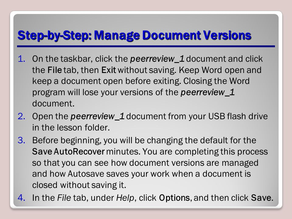Step-by-Step: Manage Document Versions