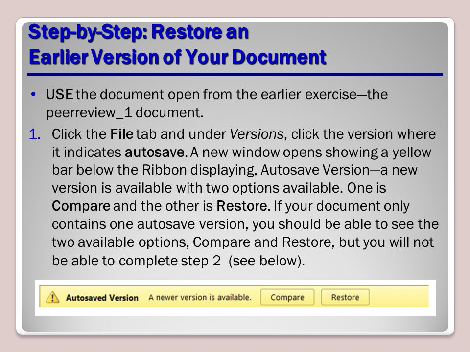 Step-by-Step: Restore an Earlier Version of Your Document