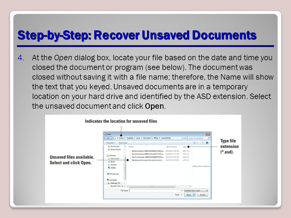 Step-by-Step: Recover Unsaved Documents
