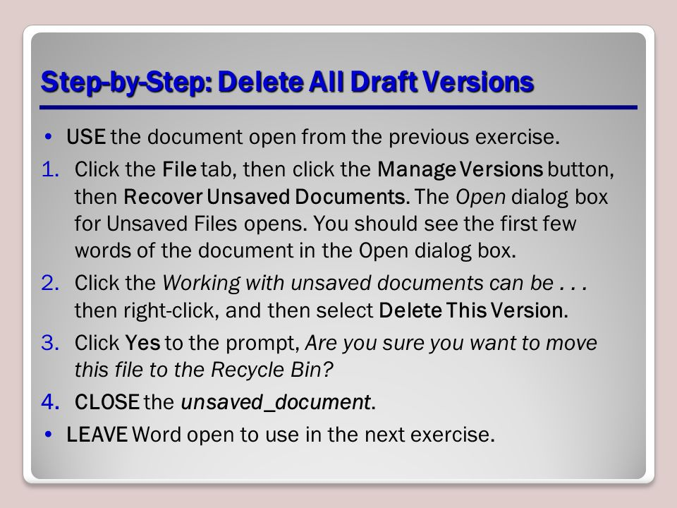 Step-by-Step: Delete All Draft Versions