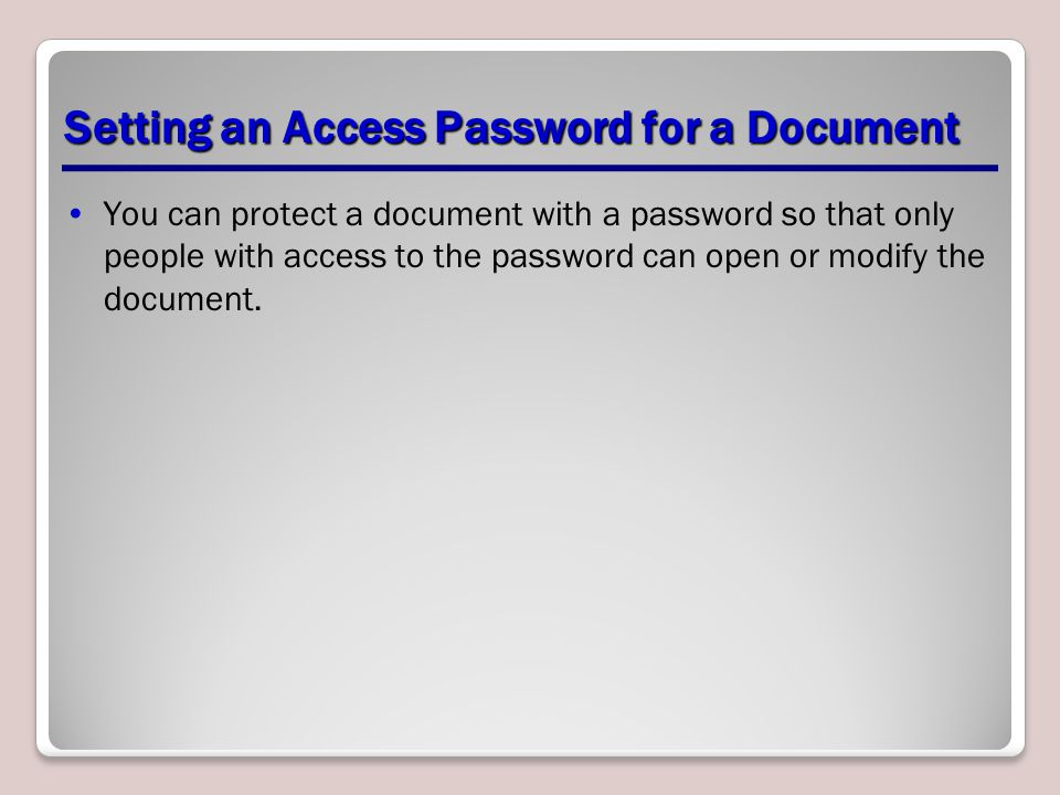 Setting an Access Password for a Document