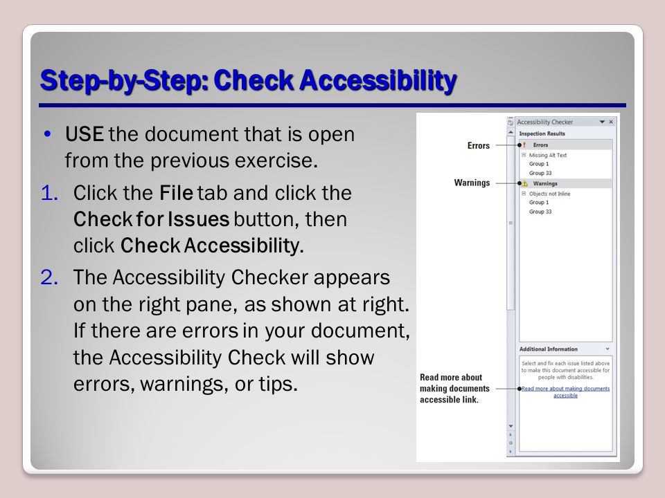 Step-by-Step: Check Accessibility