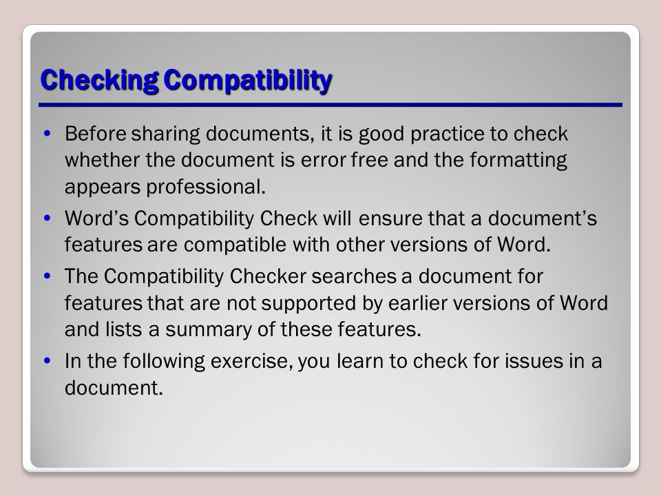 Checking Compatibility