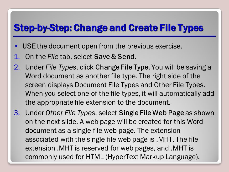 Step-by-Step: Change and Create File Types