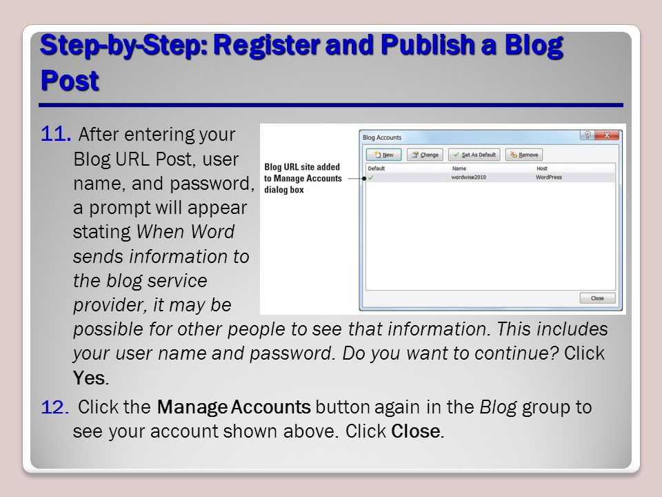 Step-by-Step: Register and Publish a Blog Post