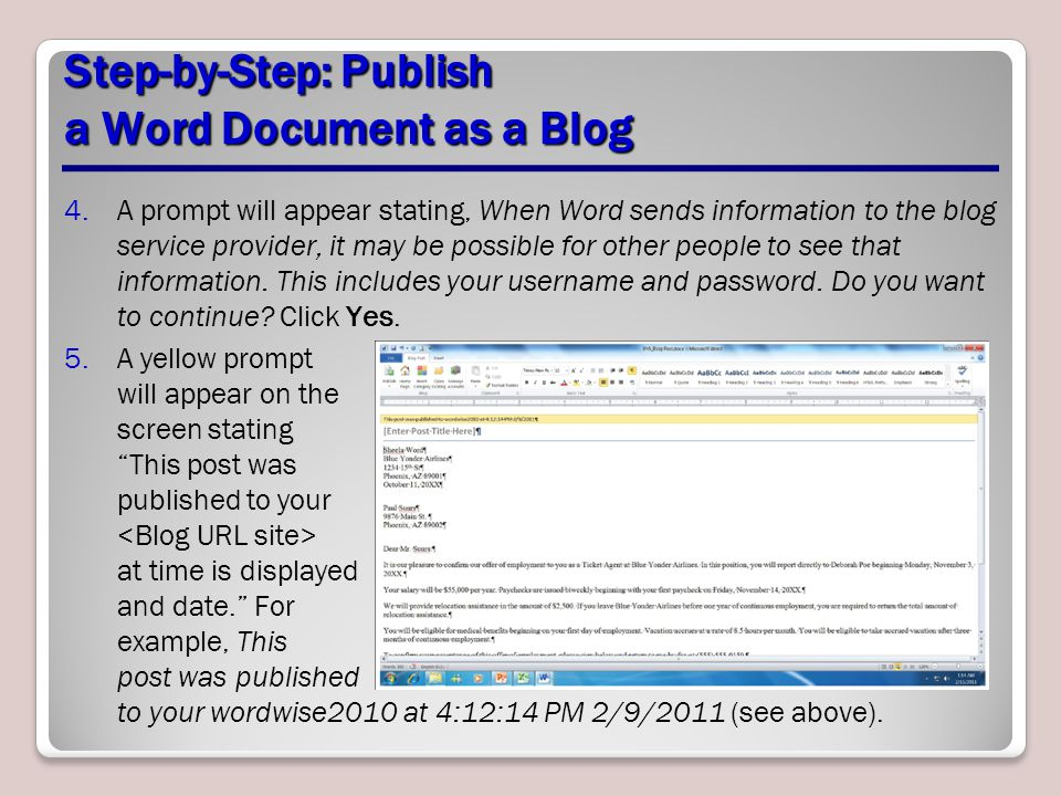 Step-by-Step: Publish a Word Document as a Blog