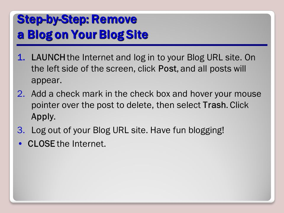 Step-by-Step: Remove a Blog on Your Blog Site