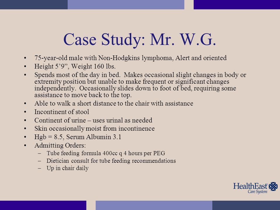 Case Study: Mr. W.G. 75-year-old male with Non-Hodgkins lymphoma, Alert and oriented. Height 5'9 , Weight 160 lbs.