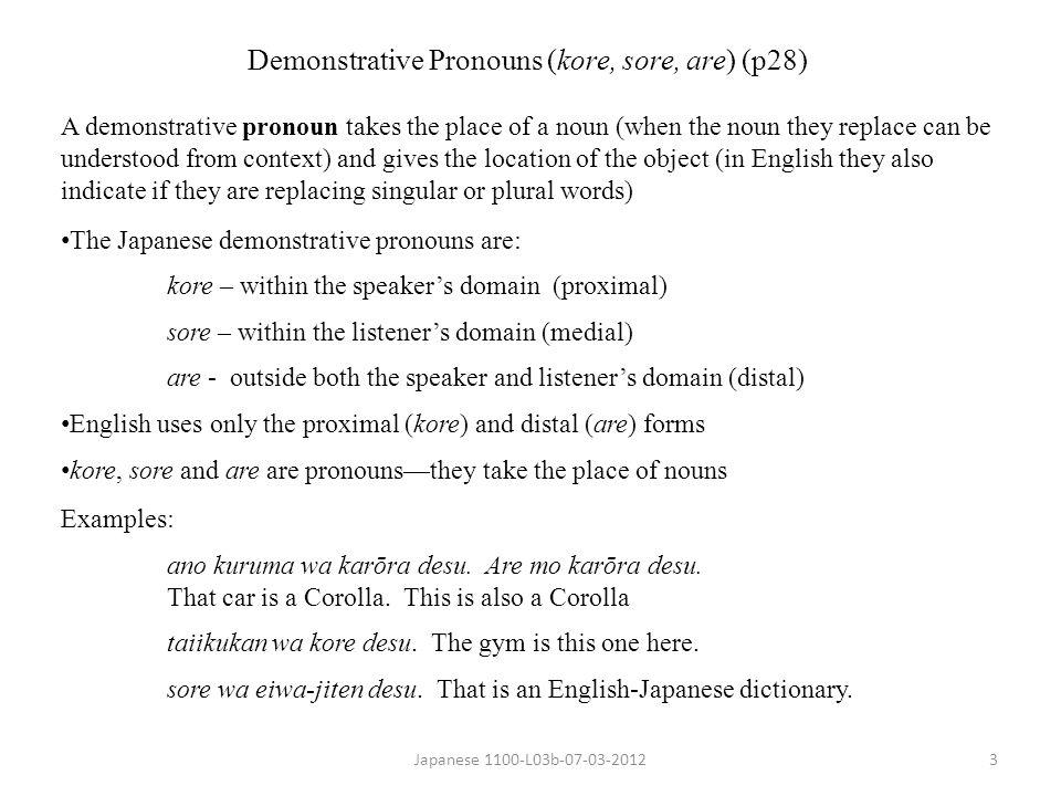 Demonstrative Pronouns (kore, sore, are) (p28)