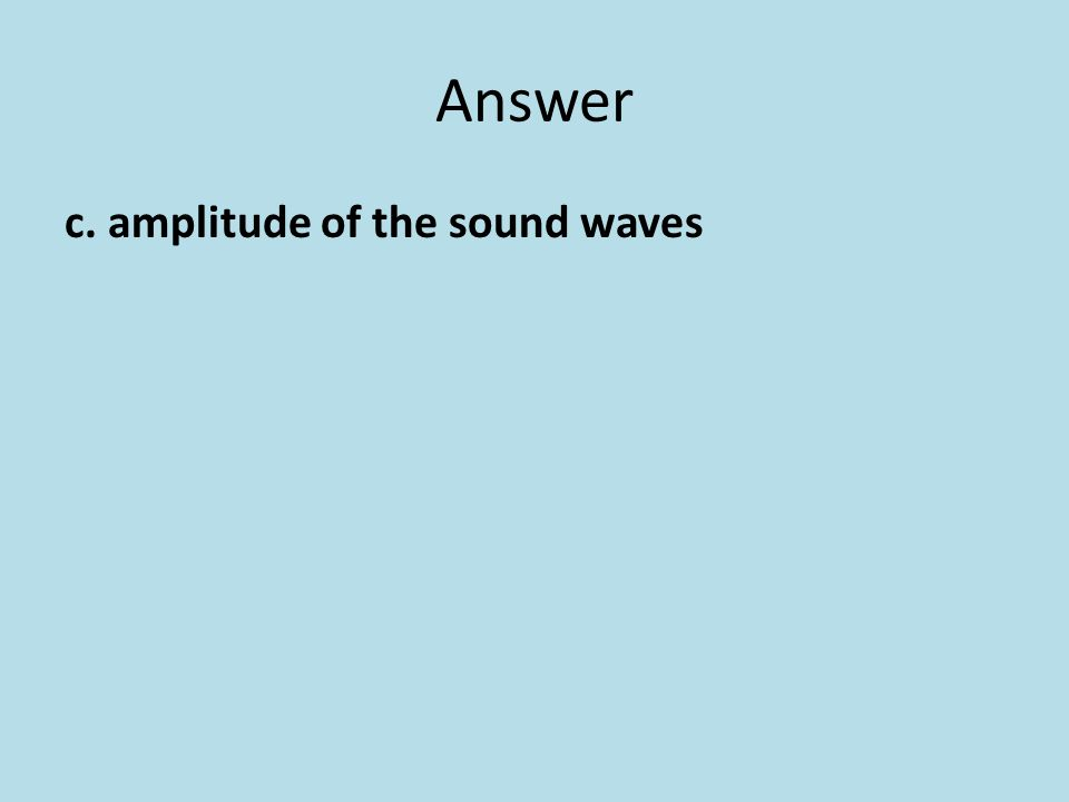 Answer c. amplitude of the sound waves