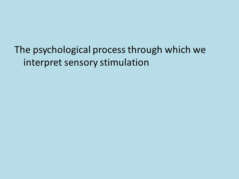 The psychological process through which we interpret sensory stimulation