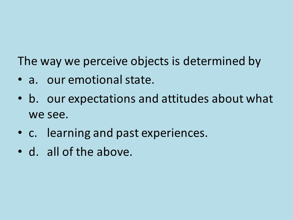 The way we perceive objects is determined by