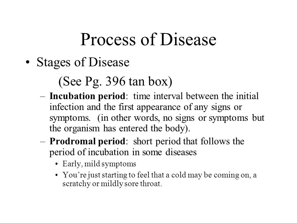 Process of Disease Stages of Disease (See Pg. 396 tan box)
