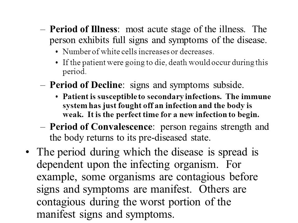 Period of Illness: most acute stage of the illness