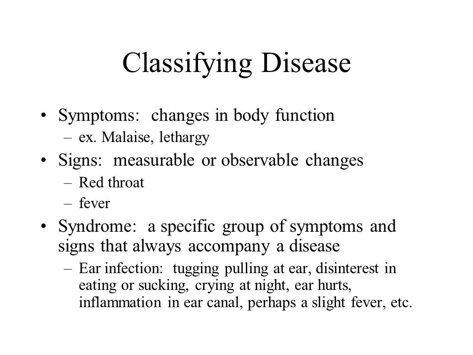 Classifying Disease Symptoms: changes in body function