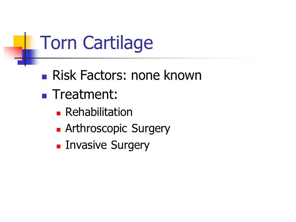 Torn Cartilage Risk Factors: none known Treatment: Rehabilitation