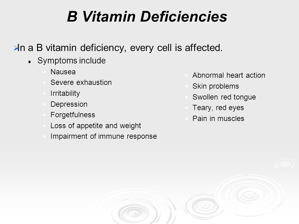 B Vitamin Deficiencies