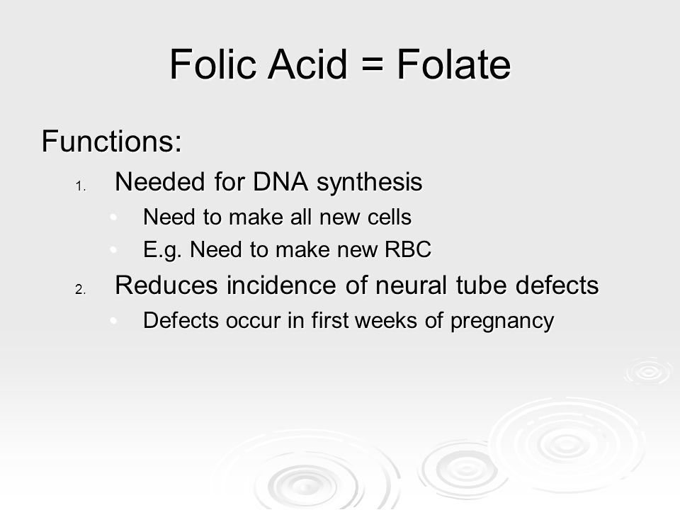 Folic Acid = Folate Functions: Needed for DNA synthesis