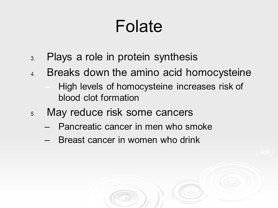 Folate Plays a role in protein synthesis