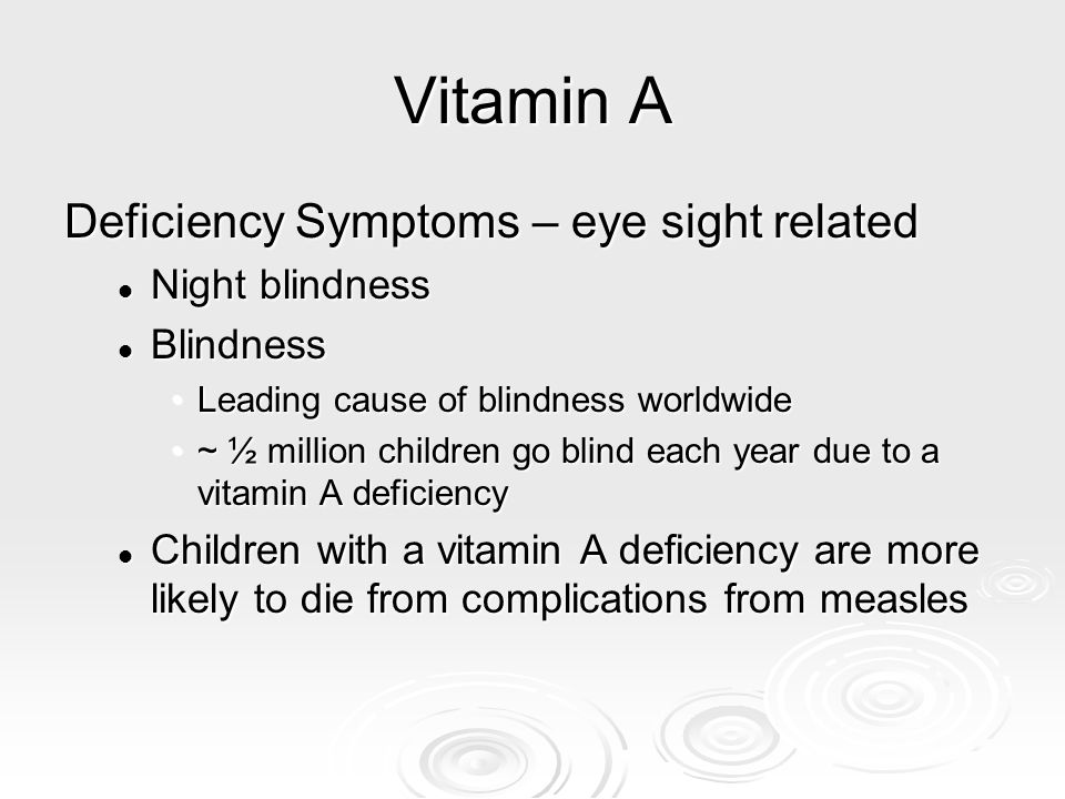 Vitamin A Deficiency Symptoms – eye sight related Night blindness