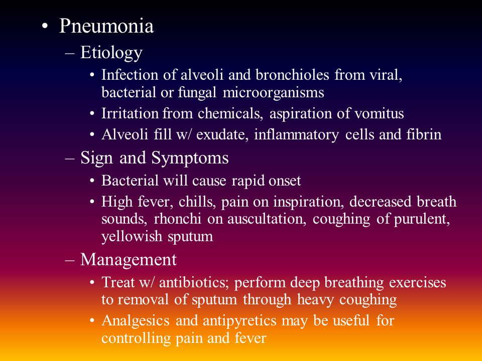 Pneumonia Etiology Sign and Symptoms Management